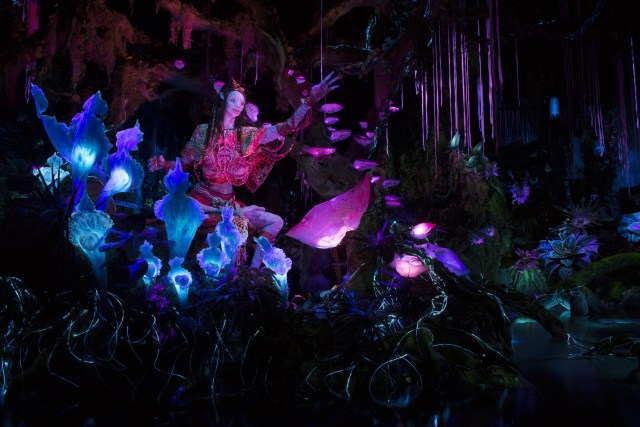 Pandora - The World of Avatar opens May 27, 2017, bringing exciting new experiences to Disney's Animal Kingdom. New attractions include the family-friendly Na'vi River Journey. The adventure begins as guests sail in reed boats down a mysterious, sacred river hidden within the bioluminescent rainforest. The full beauty of Pandora reveals itself as the boats pass by exotic glowing plants and amazing creatures. The journey culminates in an encounter with a Na'vi shaman, who has a deep connection to the life force of Pandora and sends positive energy out into the forest through her music. Disney's Animal Kingdom is one of four theme parks at Walt Disney World Resort in Lake Buena Vista, Fla. (Kent Phillips, photographer)