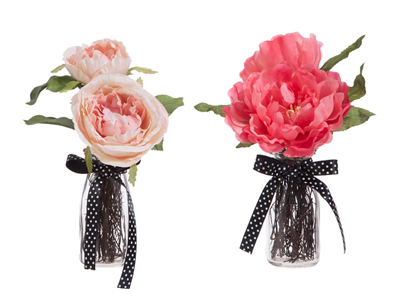 silk roses in milk bottle vases with polka dot ribbon