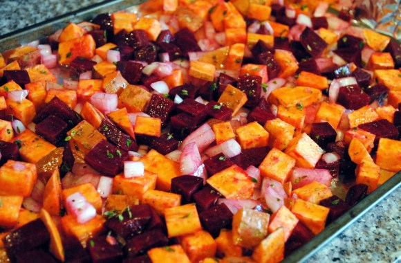 Easy Roasted Beet and Sweet Potato Hash