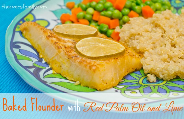 Baked Flounder with Red Palm Oil and Lime