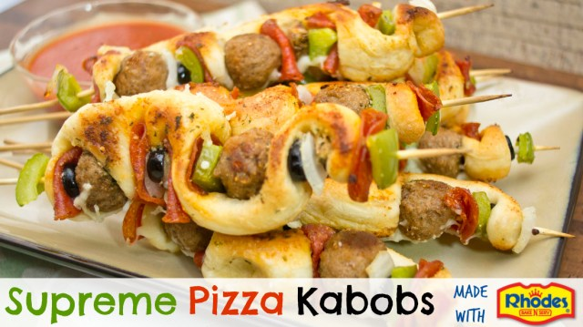 Supreme Pizza Kabobs made with Rhodes Bake-N-Serve Frozen Bread Rolls