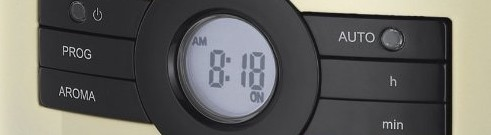 The automated display of the Russell Hobbs 18498 Coffee Maker