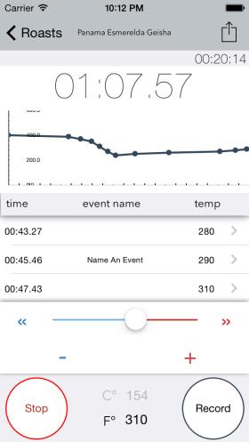 RoastWatch Screen Shot Charting