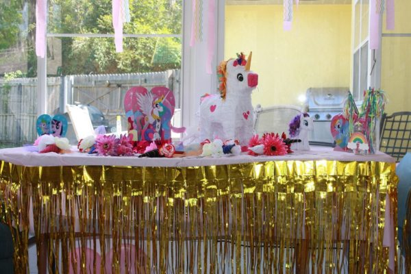 Unicorn birthday party table