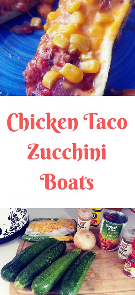 Chicken taco zucchini boats.