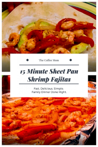 15 minute sheet pan shrimp fajitas. #shrimpfajitas #sheetpandinners #onepanmeals