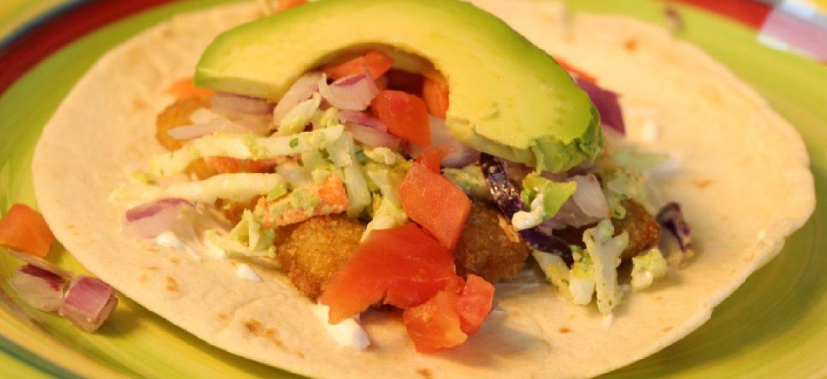 Fish Tacos with Avocado and Cilantro Slaw