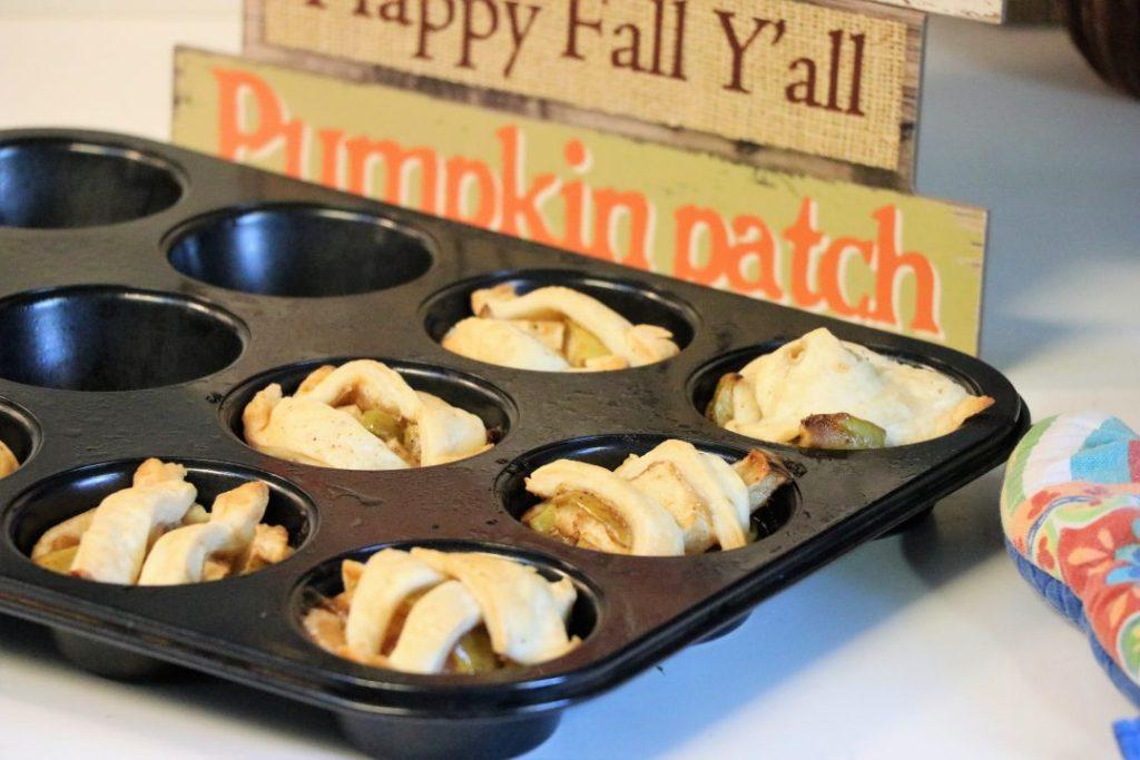 Muffin pan caramel apple pies