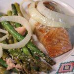 bourbon salmon and asparagus