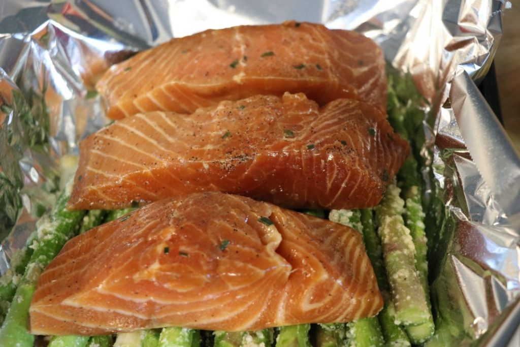 bourbon salmon with asparagus