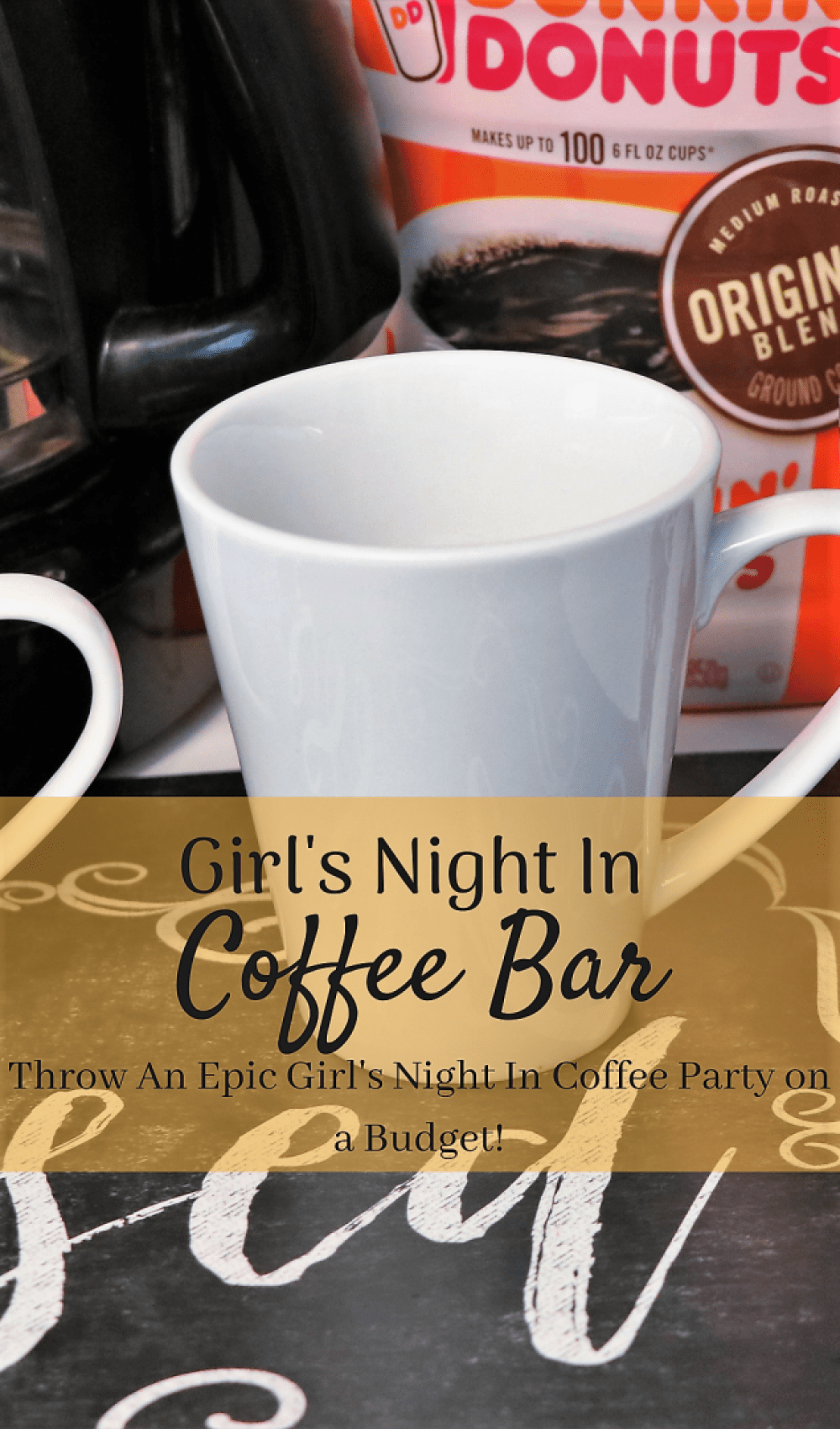 girls' night in coffee bar. Set up your own coffee bar for an epic girls' night in. And see how you can make this super cute DIY sharpie coffee mug that your guests can take home with them #CanYouCoffee #CollectiveBias #ad