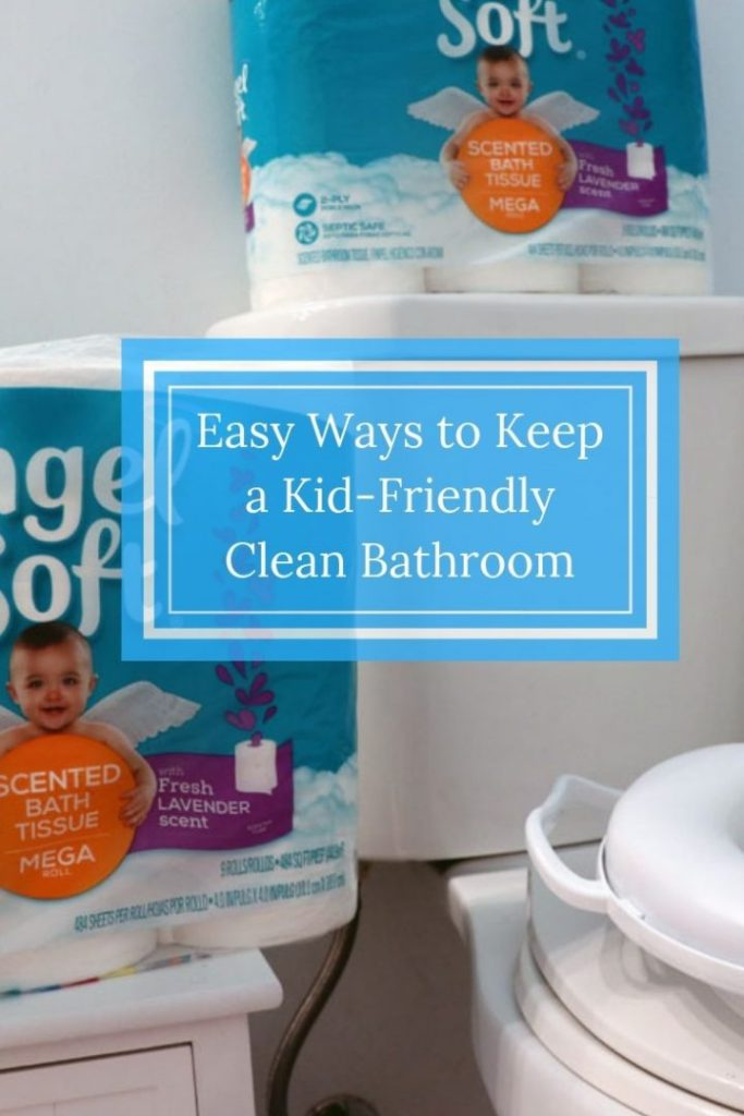 We all want easy ways to keep a kid-friendly clean bathroom right? These tips will keep your bathroom clean and ready for guests with only a few minutes a day! See how Angel Soft® with Fresh Lavender-Scented Tube keeps my bathroom smelling fresh and clean, even with small kids! #AngelSoft #ad #LavenderScentedTube
