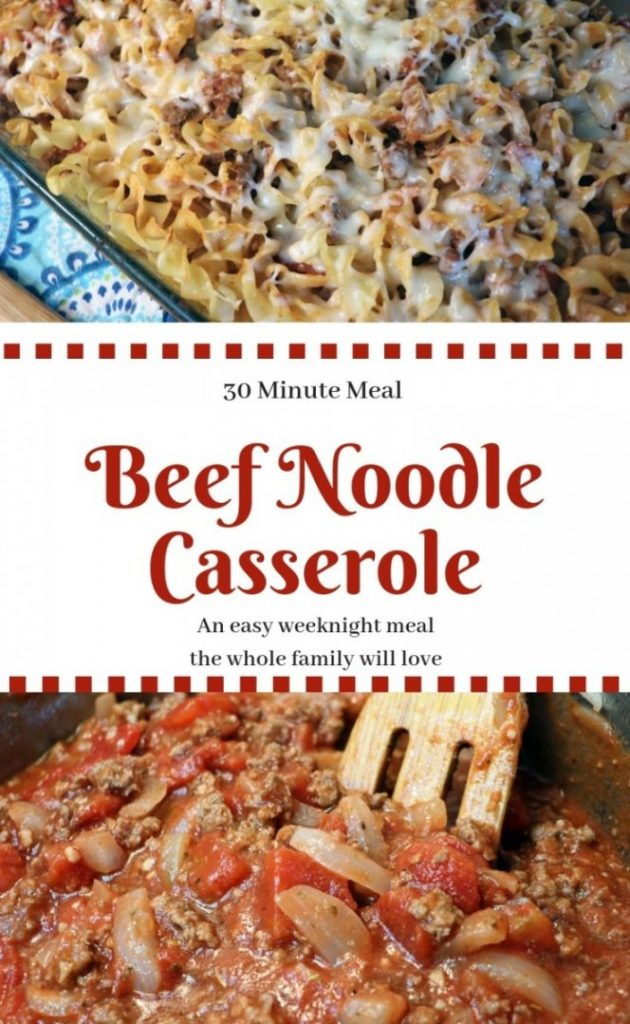 Beef Noodle Casserole. An easy weeknight meal done in under 30 minutes. Ground beef, egg noodles, diced tomatoes, cheese and tomato sauce.