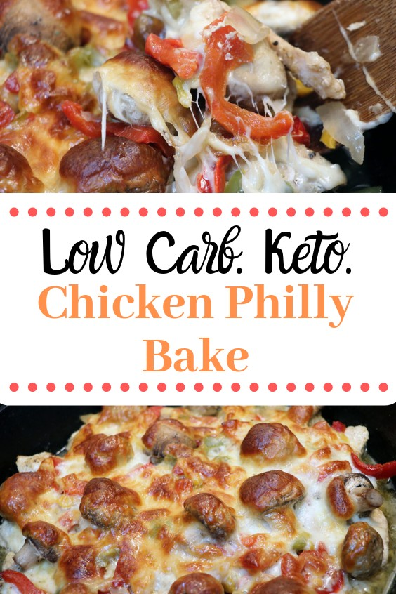 Looking for a quick and easy low carb, Keto friendly meal? This chicken Philly bake is delicious, simple, and a family favorite weeknight meal!