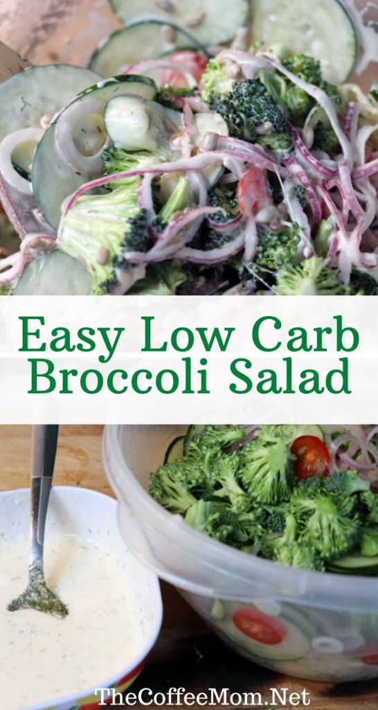 No matter if you are eating keto or just cutting down on sugar, this low carb broccoli salad is a perfect cold summer dish! This creamy broccoli salad is made with cucumber, onions, tomato, and mayo and is perfect to make ahead for a week's worth of lunches or to take with you to your next summer cookout.