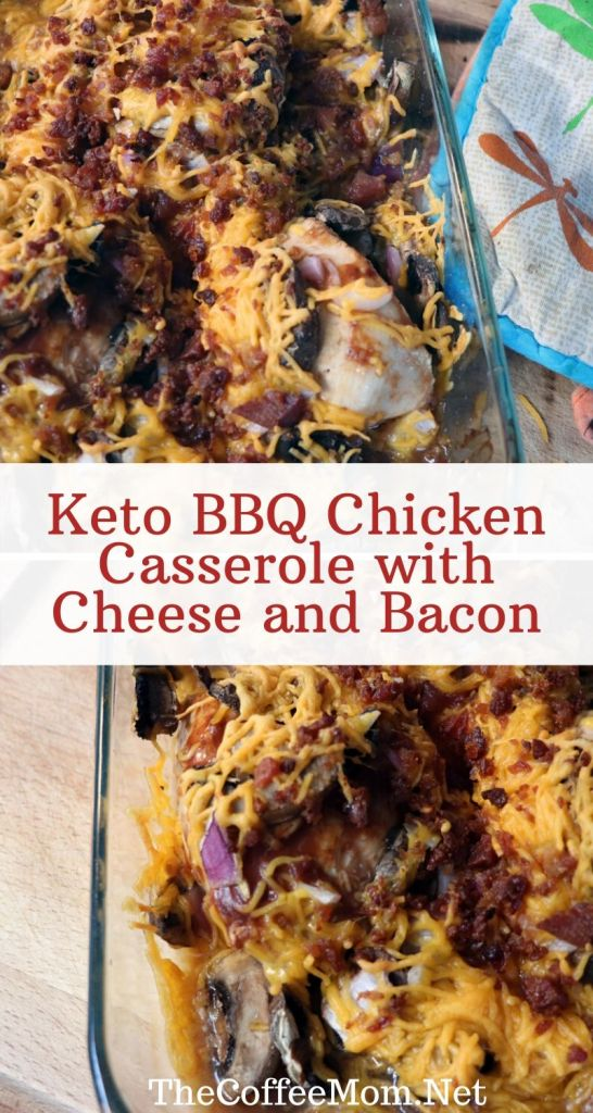 Keto BBQ Chicken Casserole with Cheese and Bacon is a super simple weeknight dinner. It is low carb, delicious, and super easy to make!