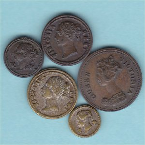 Victorian miniature Dolls House  Model money 5 coins