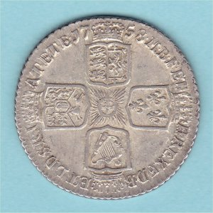 1758 Shilling, George II, EF Reverse