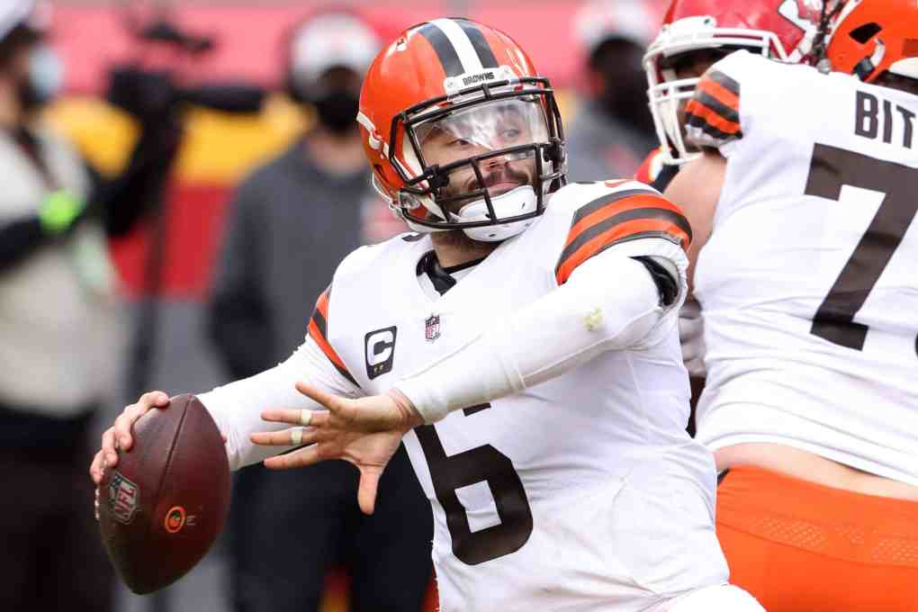 NFL quarterback Baker Mayfield #6 of the Cleveland Browns throws pass during the fourth quarter of the AFC Divisional Playoff game against the Kansas City Chiefs at Arrowhead Stadium on January 17, 2021 in Kansas City, Missouri.