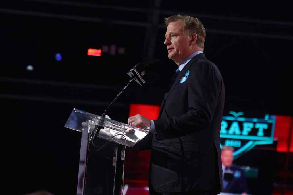 NFL Commissioner Roger Goodell announces Kadarius Toney as the 20th selection by the New York Giants during round one of the 2021 NFL Draft at the Great Lakes Science Center on April 29, 2021 in Cleveland, Ohio.