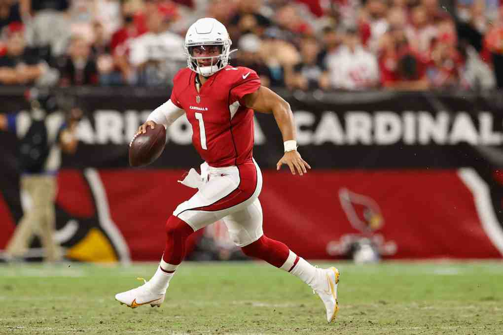Quarterback Kyler Murray #1 of the NFC West Arizona Cardinals scrambles with the football against the Kansas City Chiefs during the first half of the NFL preseason game at State Farm Stadium on August 20, 2021 in Glendale, Arizona. The Chiefs defeated the Cardinals 17-10.