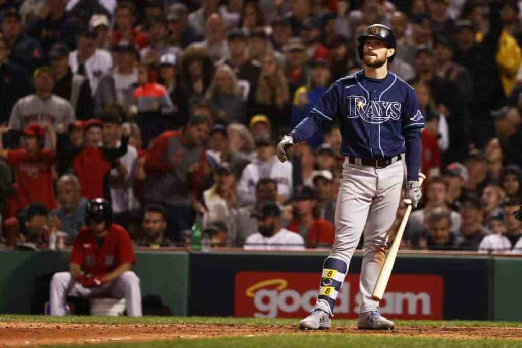Brandon Lowe #8 of the Tampa Bay Rays reacts after a strike in the ninth inning against the Boston Red Sox during Game 3 of the American League Division Series at Fenway Park on October 10, 2021 in Boston, Massachusetts.