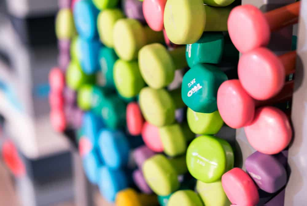 Colourful weights in gym