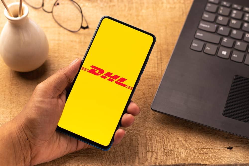 DHL logo on phone screen