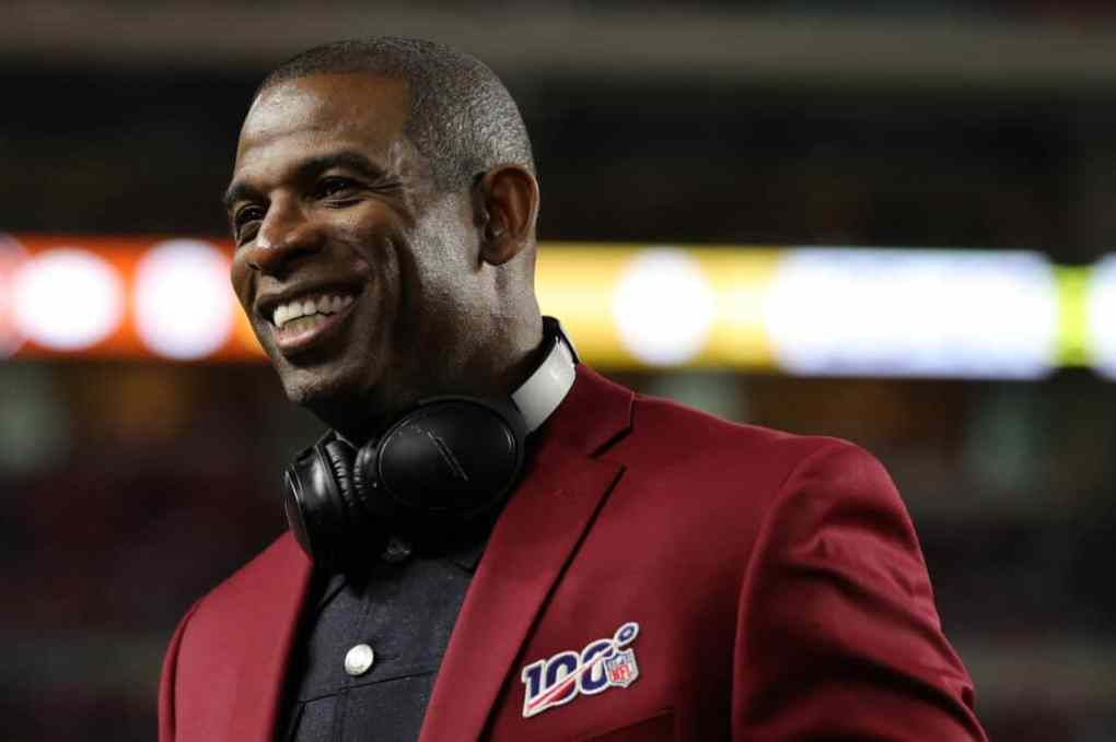 Deion Sanders of the NLF 100 All-Time Team is honored on the field prior to Super Bowl LIV between the San Francisco 49ers and the Kansas City Chiefs at Hard Rock Stadium on February 02, 2020 in Miami, Florida.