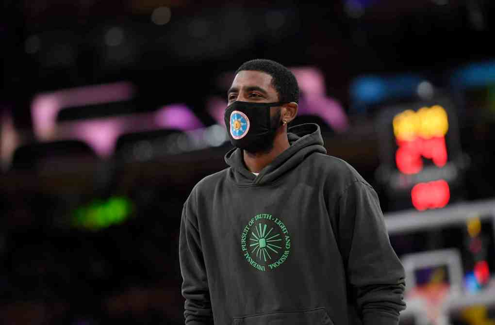 Kyrie Irving #11 of the Brooklyn Nets during a pre season game against the Los Angeles Lakers at Staples Center on October 3, 2021 in Los Angeles, California.