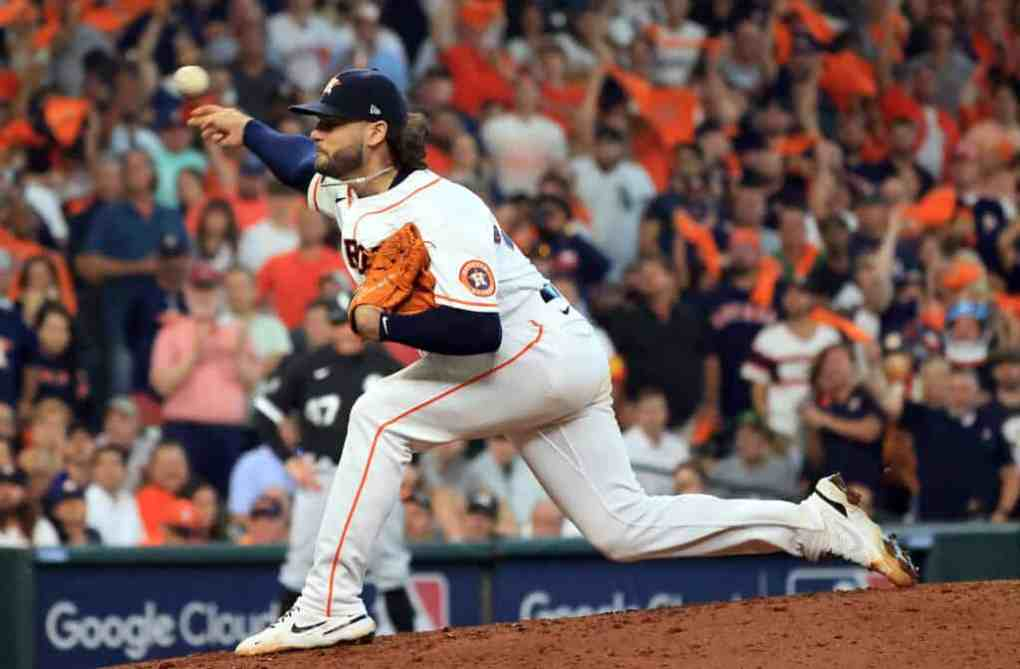 Starting pitcher Lance McCullers Jr. #43 pitches during the 7th inning of Game 1 of the American League Division Series against the Chicago White Sox at Minute Maid Park on October 07, 2021 in Houston, Texas.