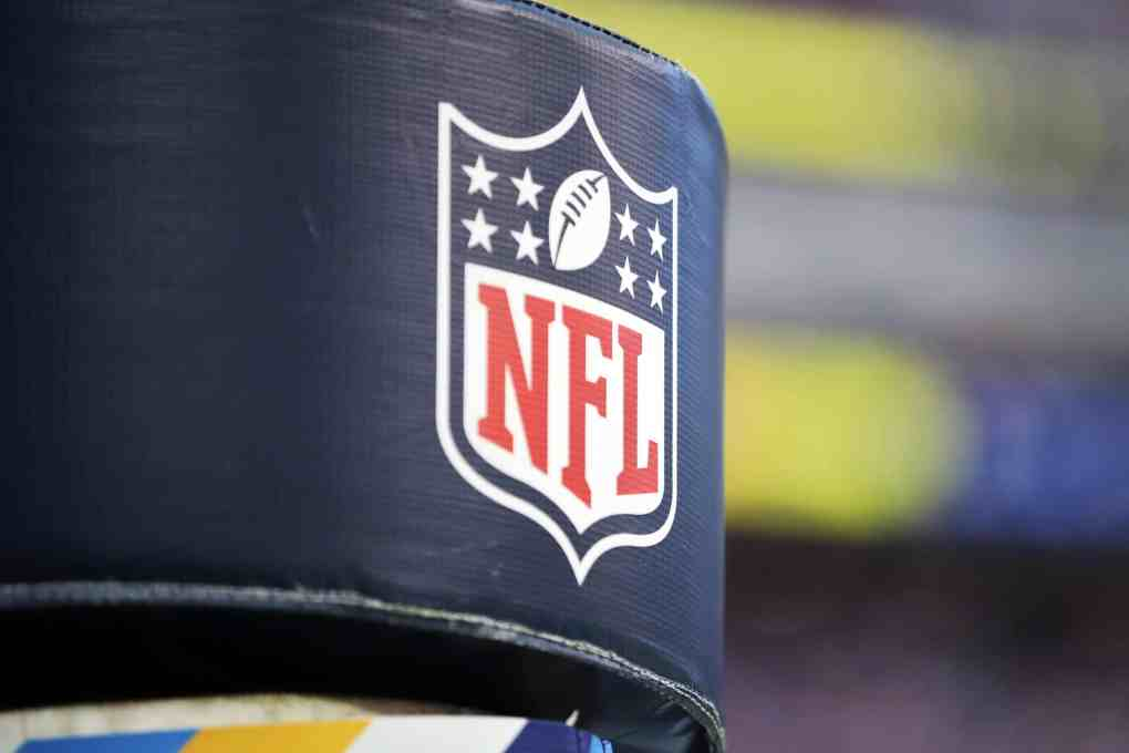 A detailed view of the NFL logo is seen at SoFi Stadium during the game between the Arizona Cardinals and the Los Angeles Rams on October 03, 2021 in Inglewood, California.