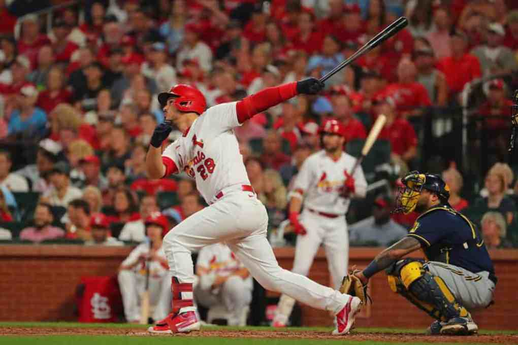 Nolan Arenado #28 of the St. Louis Cardinals drives in a run with a sacrifice fly against the Milwaukee Brewers in the fifth inning at Busch Stadium on September 28, 2021 in St Louis, Missouri.