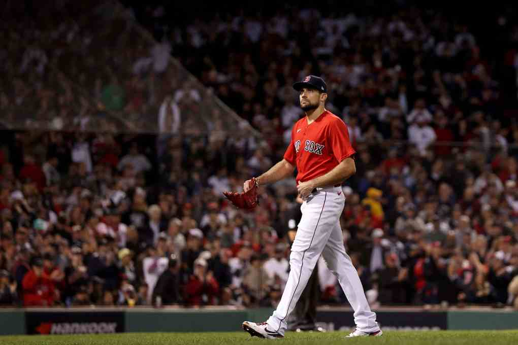 Nathan Eovaldi #17 of the Boston Red Sox is relieved against the New York Yankees during the sixth inning of the American League Wild Card game at Fenway Park on October 05, 2021 in Boston, Massachusetts.