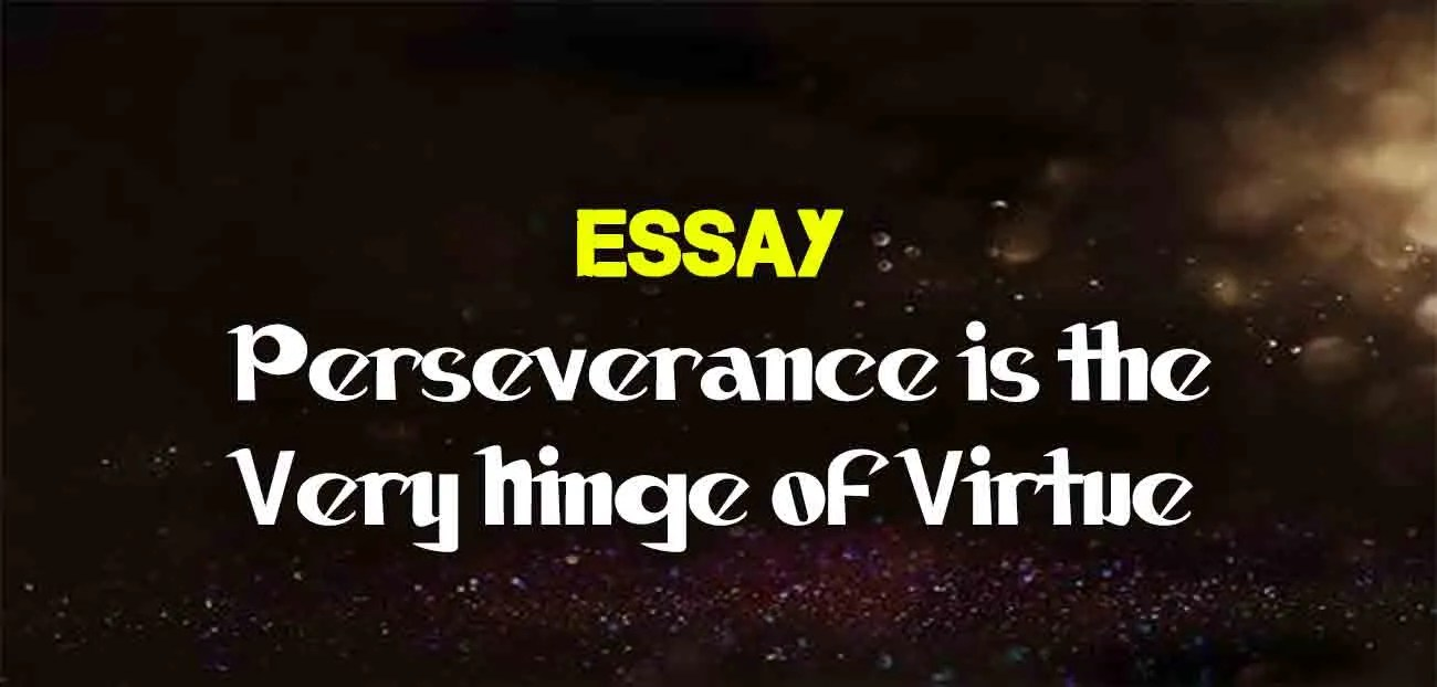 perseverance is the very hinge of virtue essay  the college study
