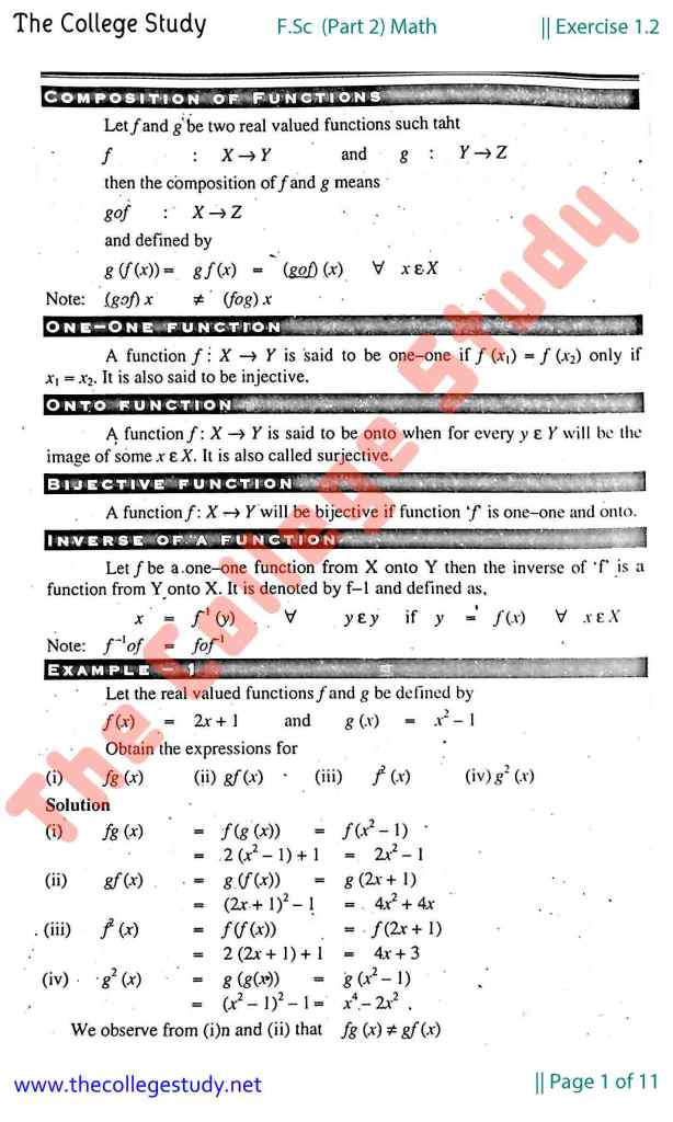 Exercise 1.2 Solution FSc 2nd Year Math