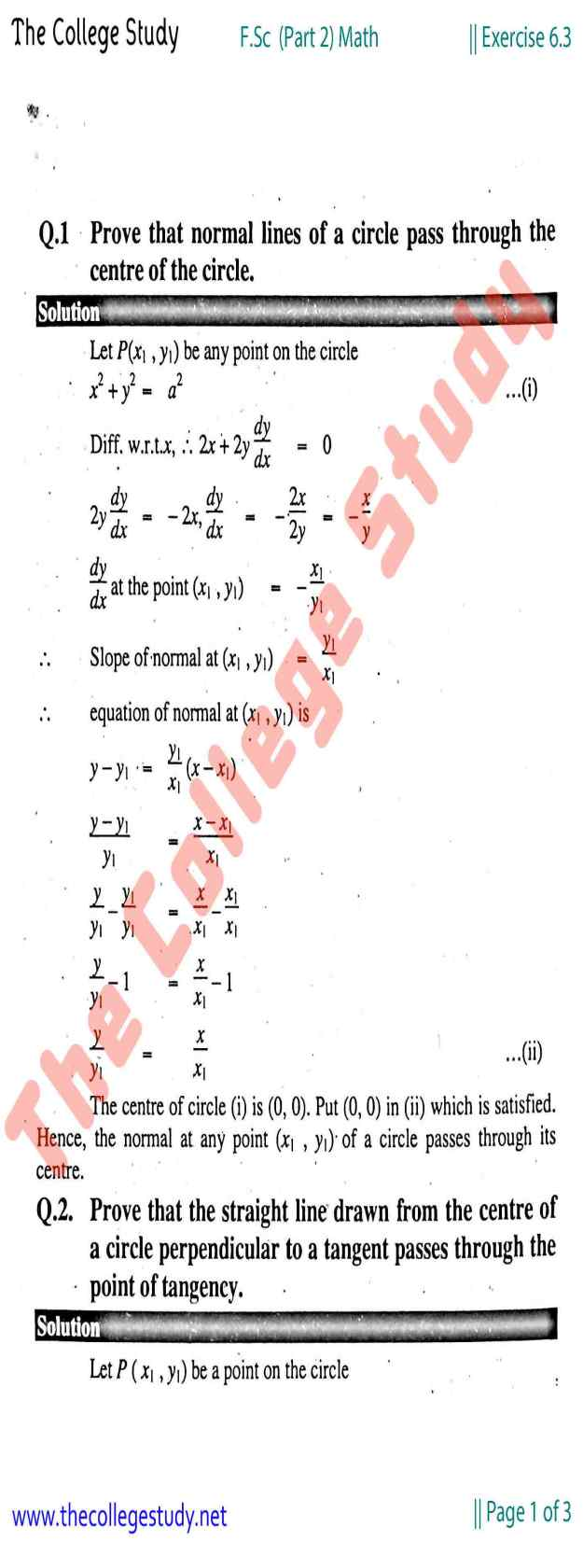 Exercise 6.3 Solution FSc 2nd Year Math