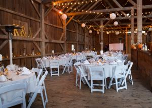 Colonel Williams Barn set up with round tables