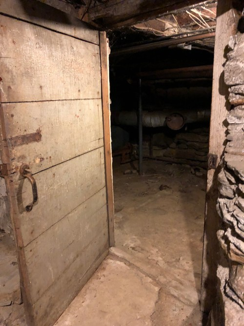 Wooden door into dark basement