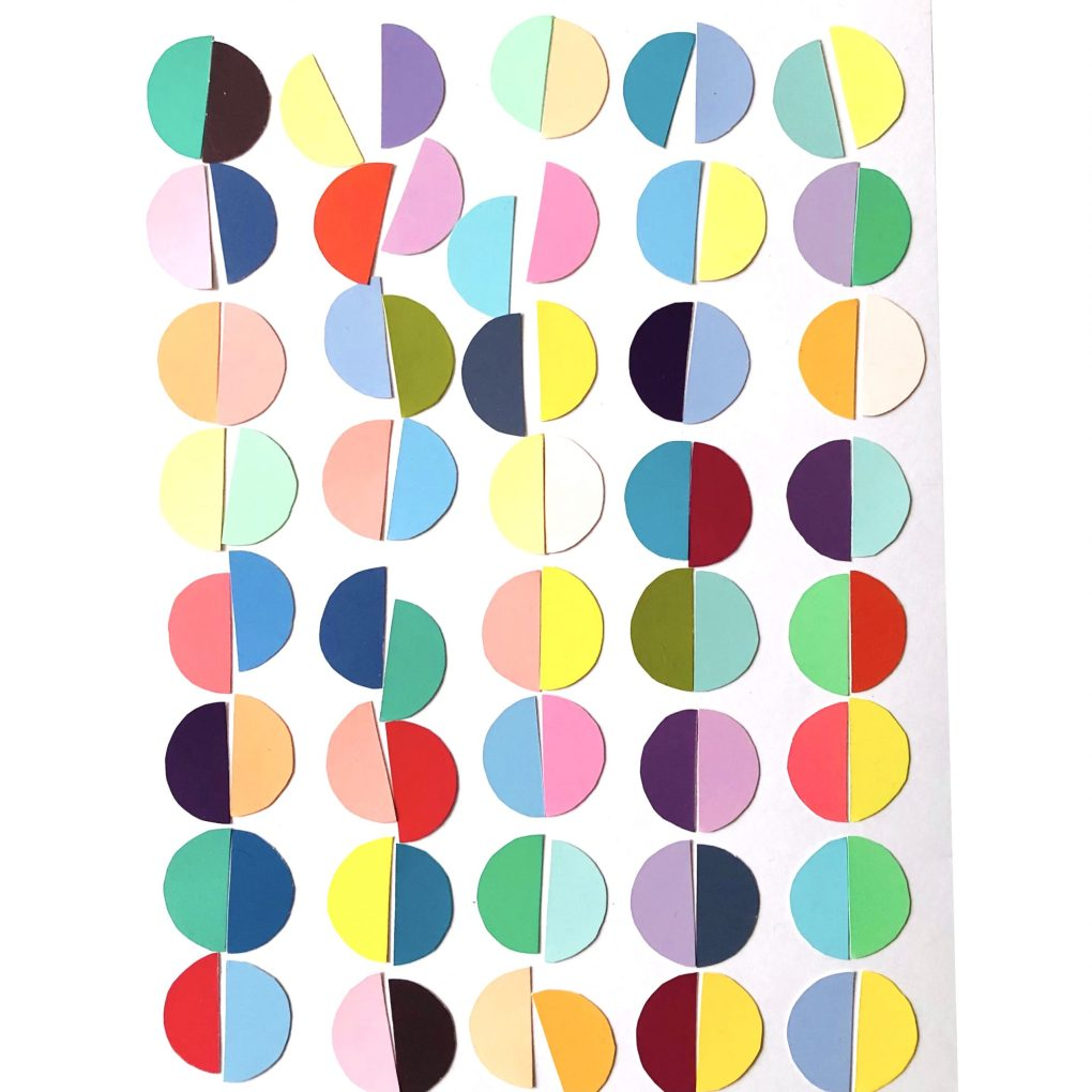 Collaging has been one way that colour has helped me to cope with lockdown. Here are some of the coloured semicircles I cut out and placed together during that time.