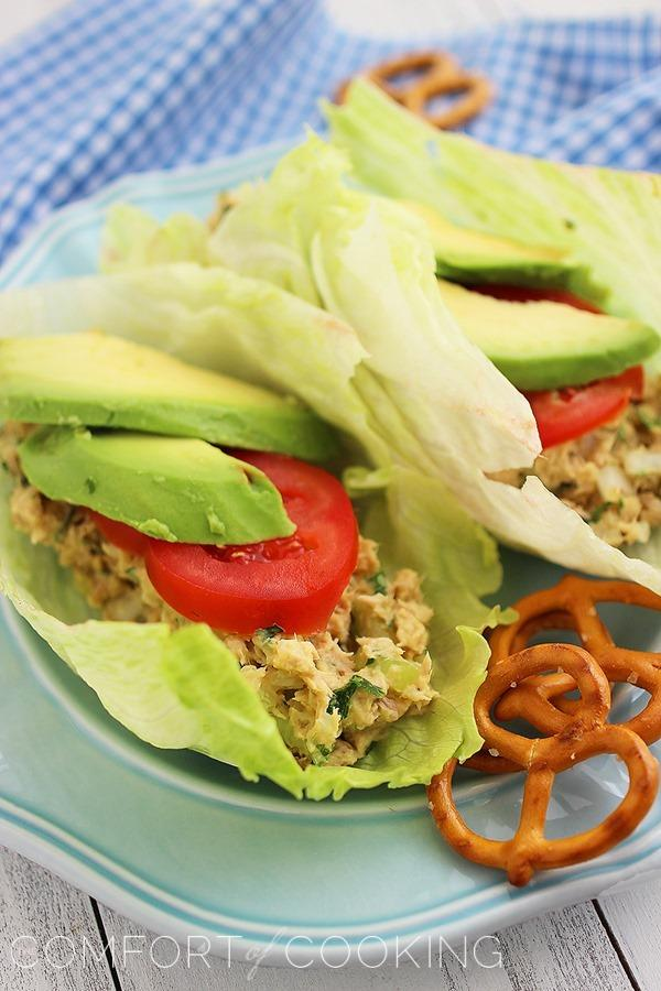 Avocado Tuna Salad Lettuce Wraps