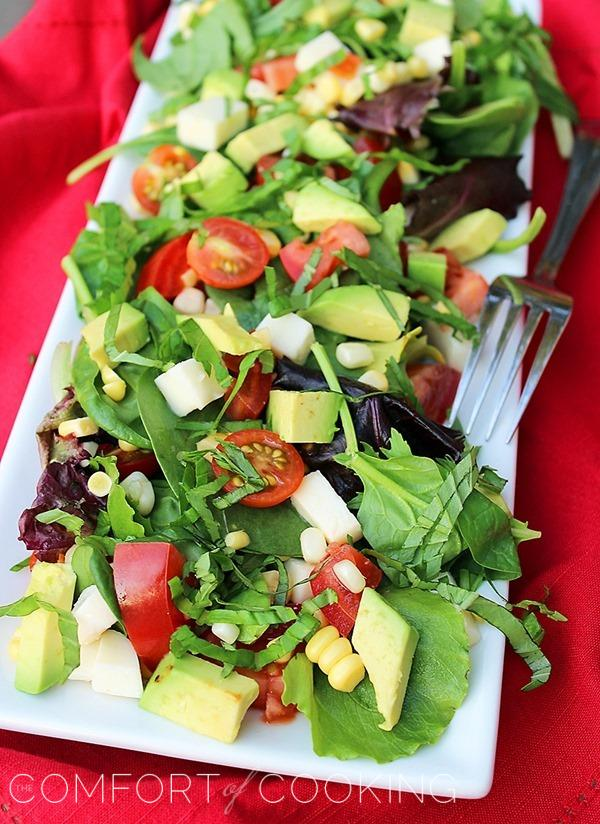 Tomato Avocado Corn and Basil Salad With LemonBalsamic