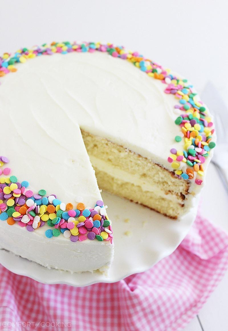 Yellow Birthday Cake With Vanilla Frosting