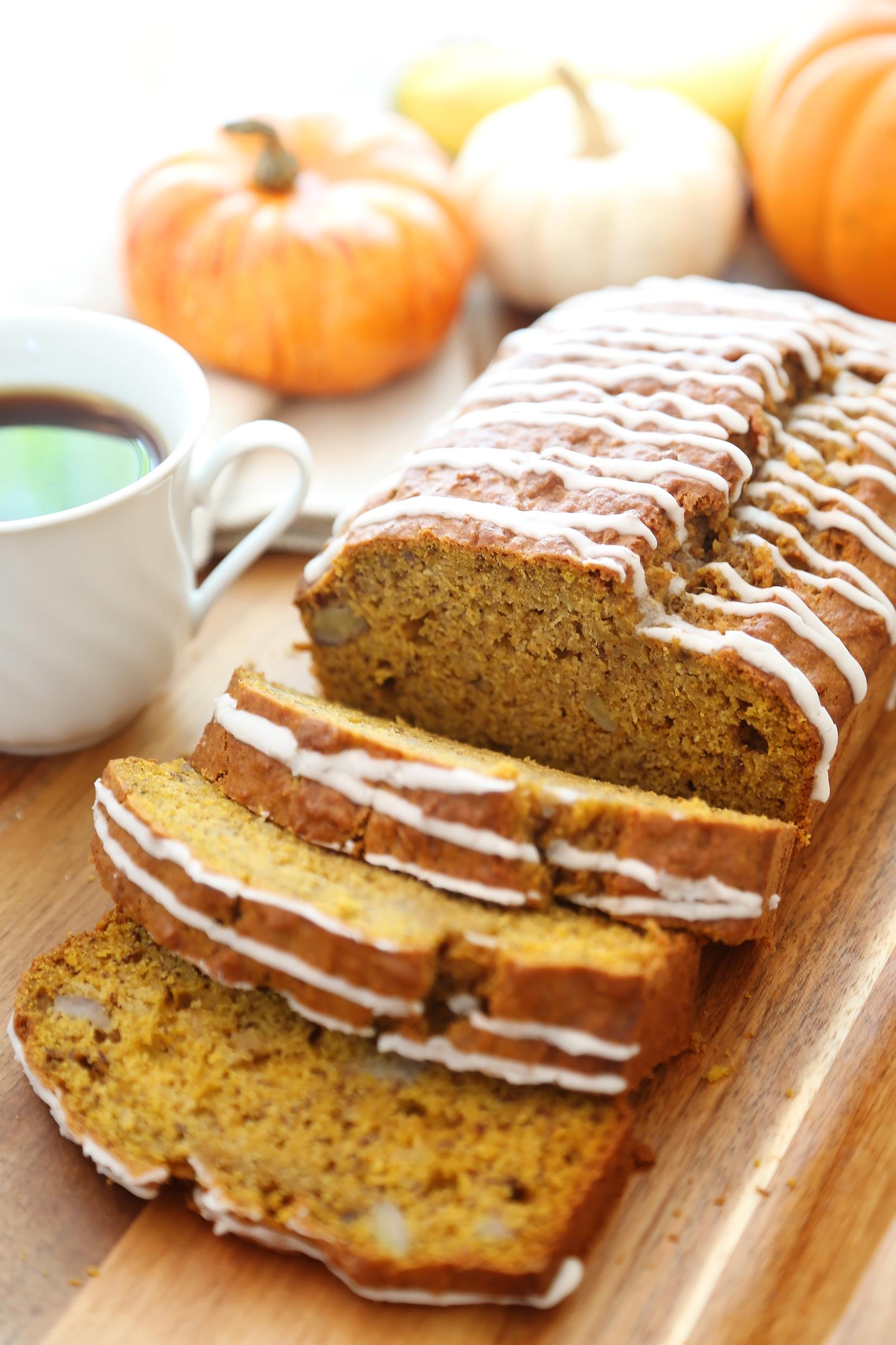 Pumpkin Banana Bread With Vanilla Glaze
