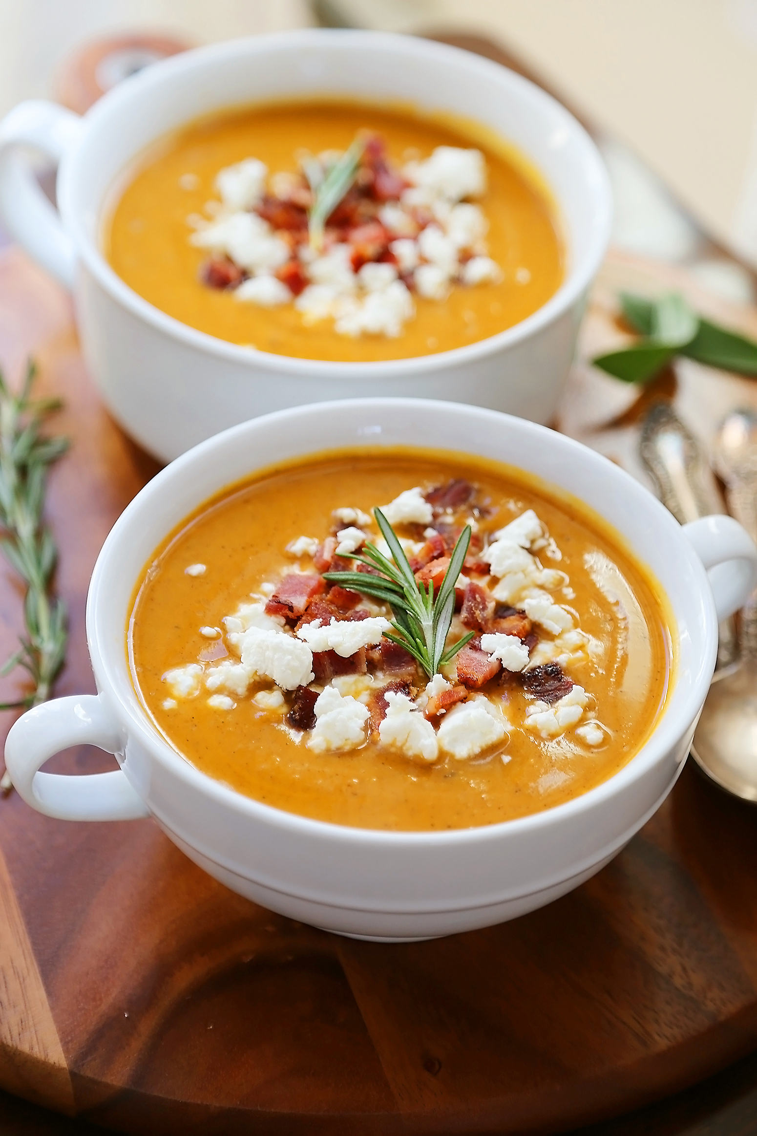 Creamy Sweet Potato Soup with Bacon and Goat Cheese