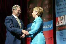 George Soros with Hillary Clinton.