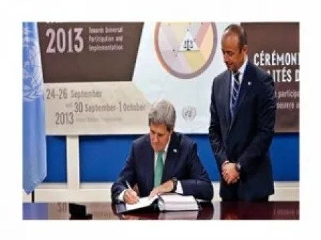 Secretary of State, John Kerry, signing away America's freedom, security and longevity by putting his name on the UN Smalls Arms Treaty in violation of the Constitution which states that any treaty must be approved by the Senate on a two-thirds vote.