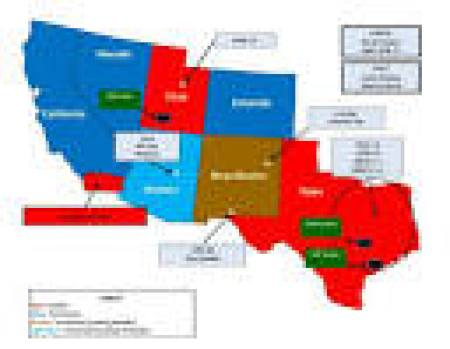 "Jade Helm 15 Color Coded Legend Red Denotes a ""hostile state"" Brown is uncertain, leaning towards hostile. Dark Blue is ""Permissive"" meaning supportive of the government. Light Blue is ""Uncertain, leaning friendly"". ."