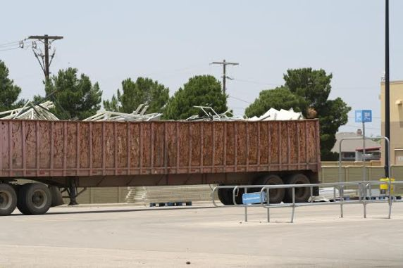 As photographed by Marlon Brock in early June, massive amounts of shelving is being hauled away from the Walmart store in Midland, Texas.
