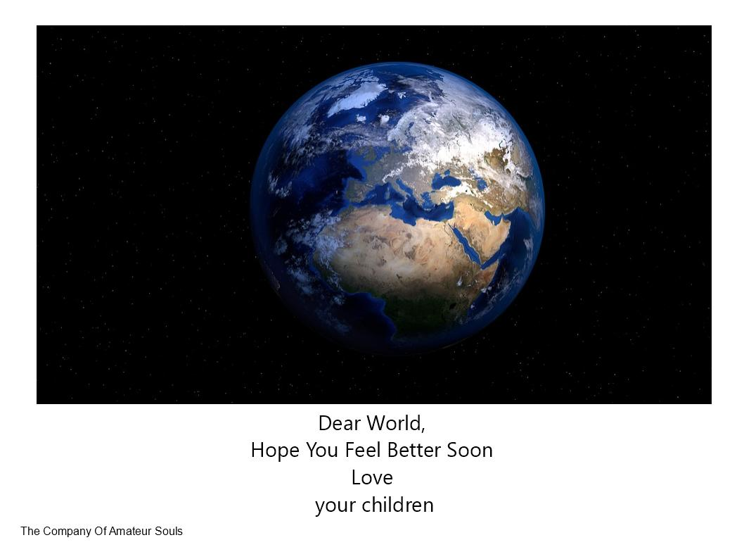 picture of the earth with a get well soon message from its children
